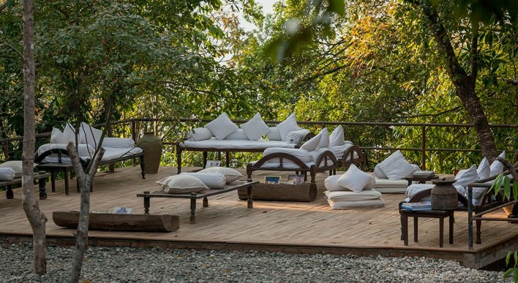 There are plenty of spaces to kick back and relax at Dwarika's Resort Dhulikhel.