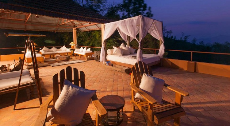 An outdoor area for one of the suites at Dwarika's Resort Dhulikhel.