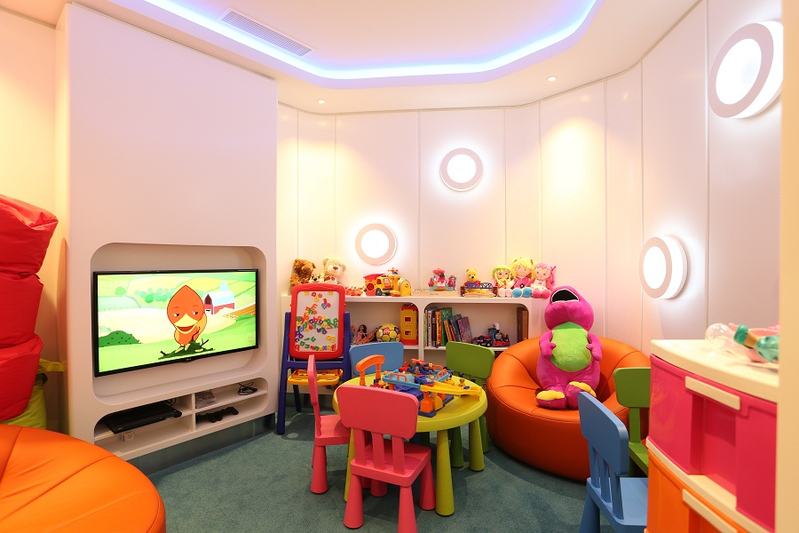 A playroom keeps children happy.