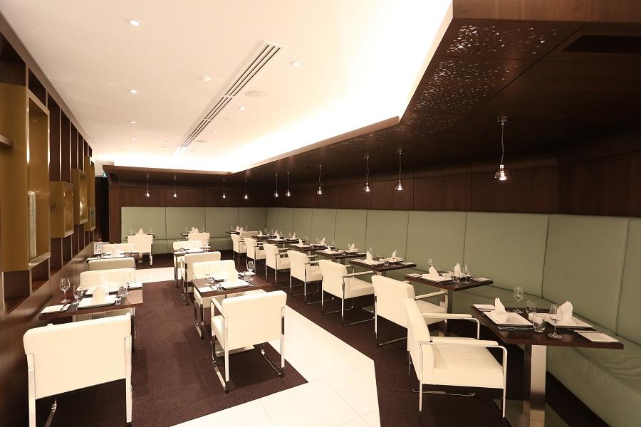 The lounge's dining area offers food via buffet or a la carte.
