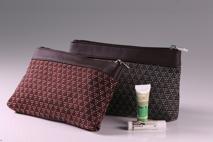 Business Class amenity kits feature the all natural products of Athens' Korres.