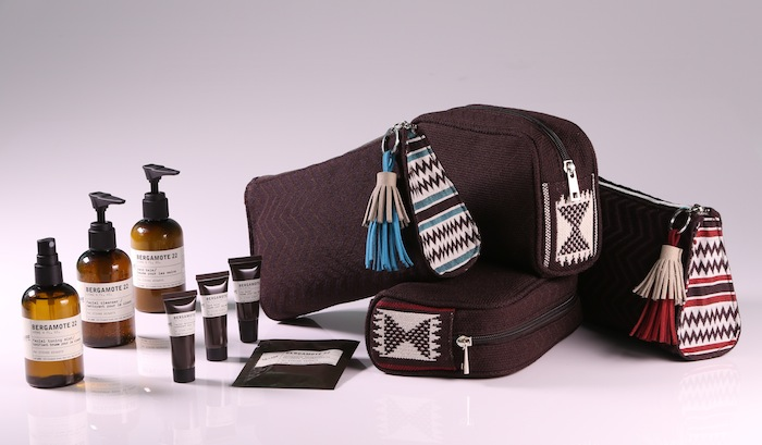 First Class amenity kits include Le Labo toiletries.