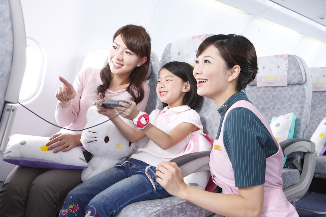 More than 100 in-flight service items will feature Hello Kitty on the plane.