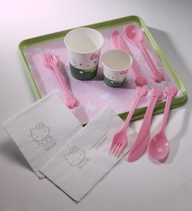Hello Kitty utensils and cups.