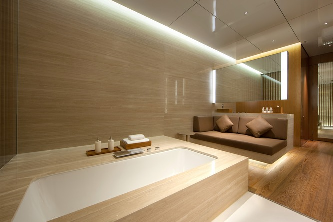 Each of the lounge's five rooms features a full-size bath, shower, and day-bed.