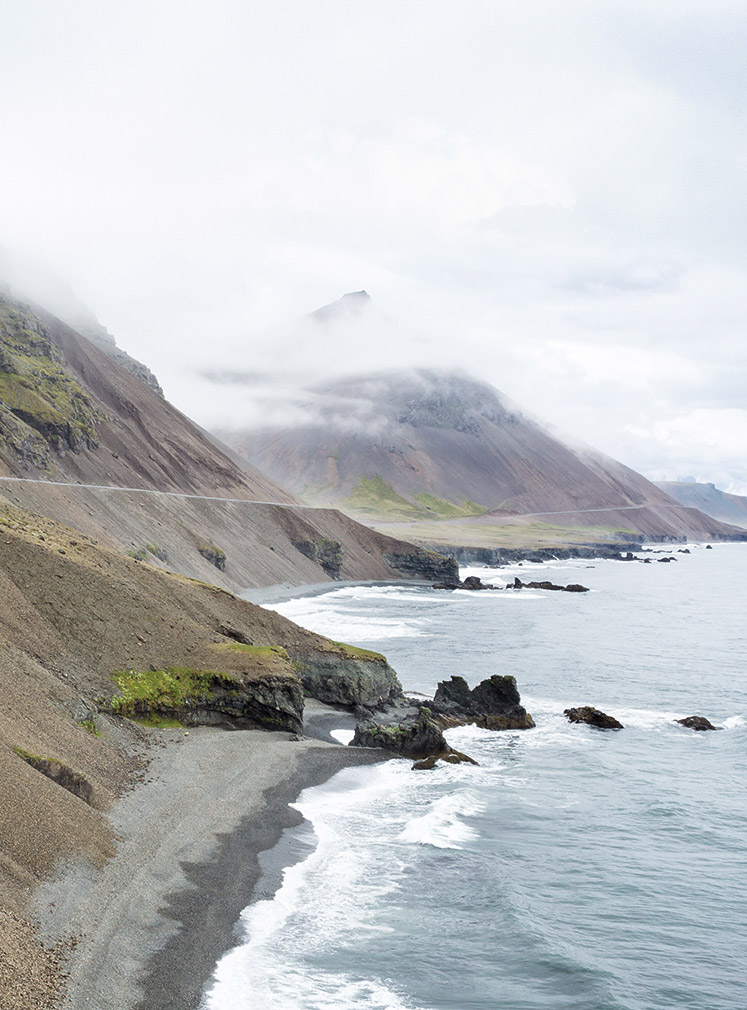 A stretch of the Ring Road south of Berufjörður in fog-prone East Iceland.