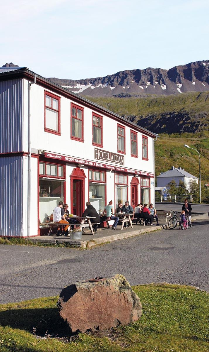 Outside Seyðisfjörður's Hótel Aldan, which made a cameo appearance in The Secret Life of Walter Mitty.