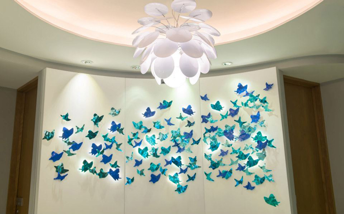 Beautiful butterfly ornaments on the wall.