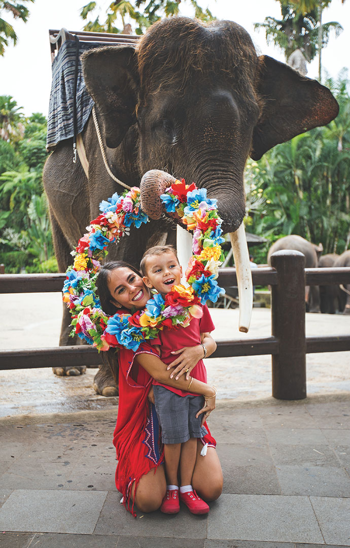 Having fun at Bali's Elephant Safari Park. Photo courtesy of Elephant Safari Park Bali.