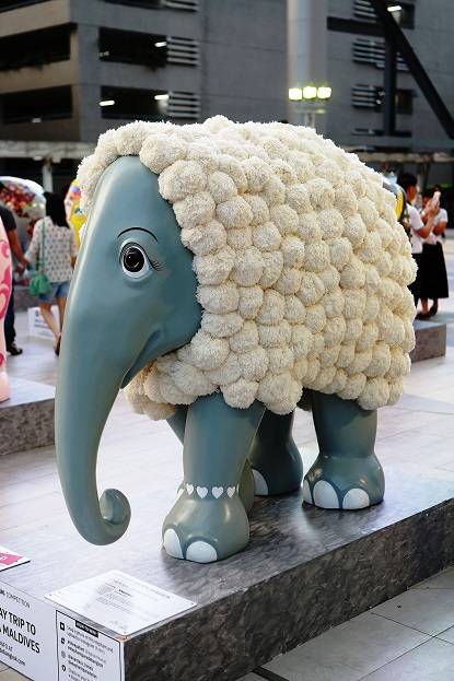 The Sheepaphant, one of the 88 elephant statues featured in the exhibition.