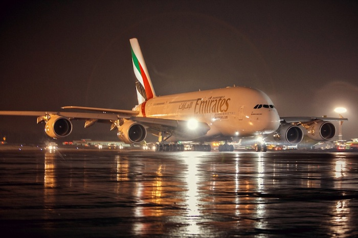 The Emirates' A380 lands at Moscow's Domodedovo International Airport.