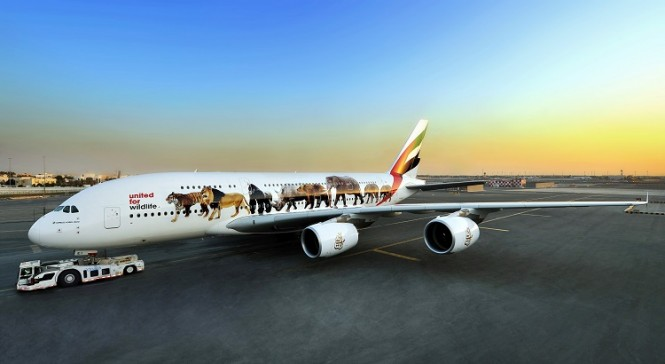 One of Emirates's two A380 aircraft featuring endangered wildlife.