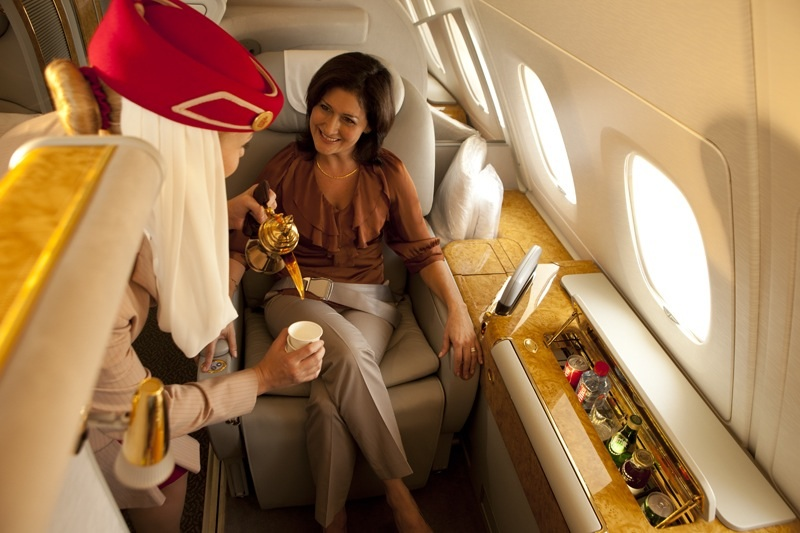 Twelve First Class private suites are aboard the A340.