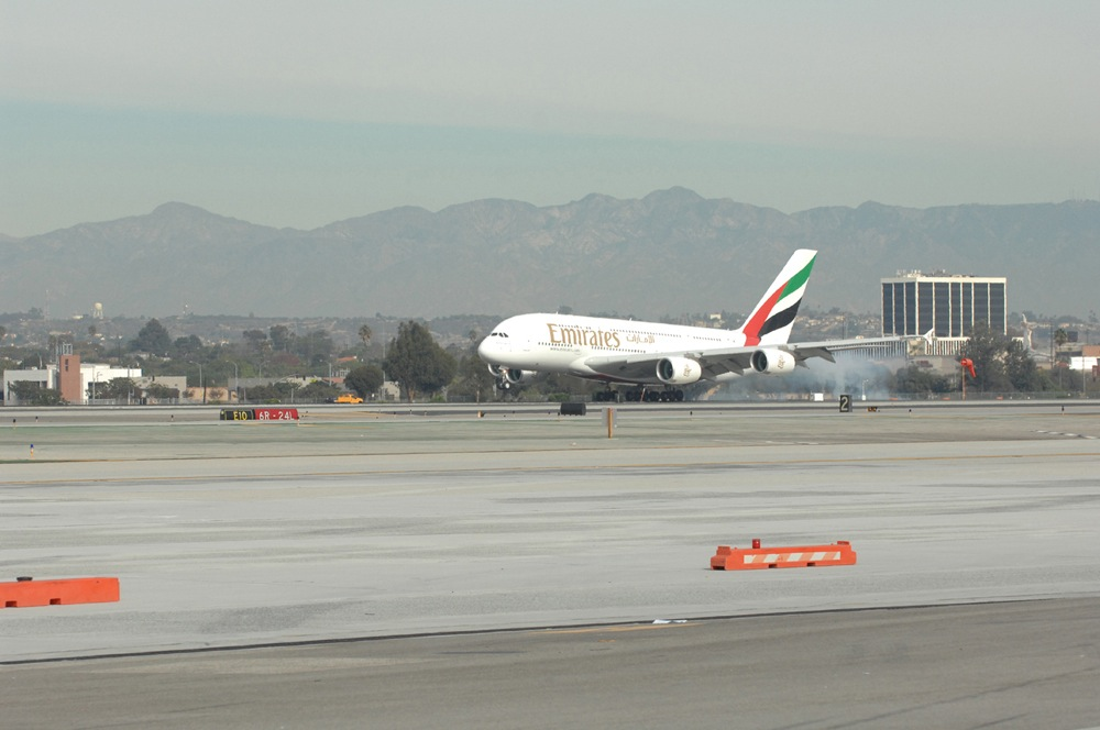 Emirates' Longest A380 Flight Touches Down in Los Angeles.