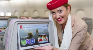 Emirates's new in flight entertainment system carries hundreds of movies, TV box sets, and thousands of music.
