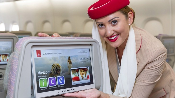 Emirates's  in flight entertainment system carries hundreds of movies, TV box sets, and thousands of music.