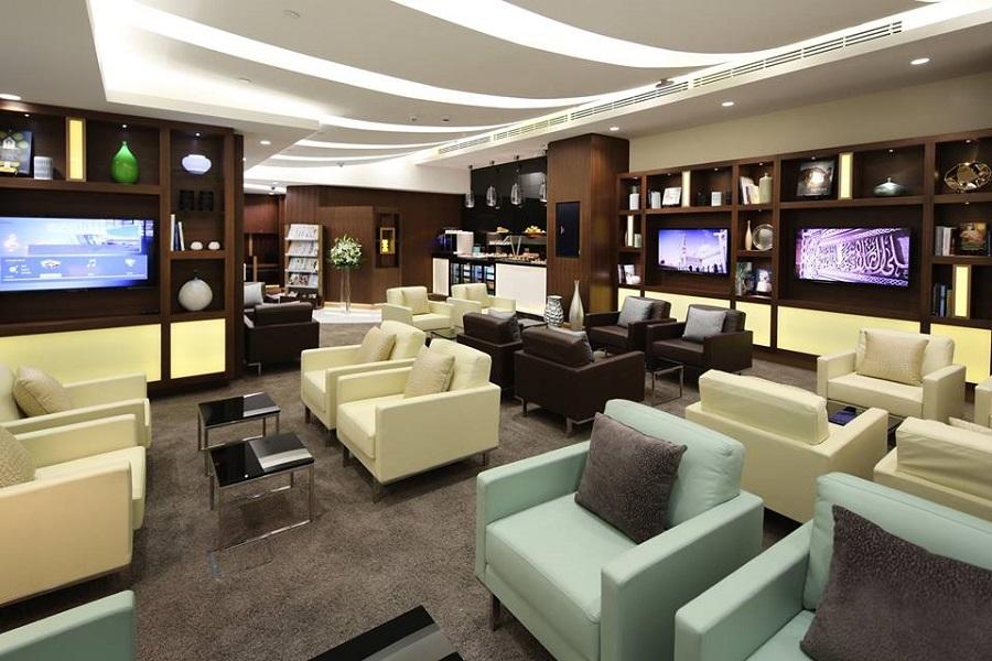 Etihad's premium lounge in Abu Dhabi's airport.