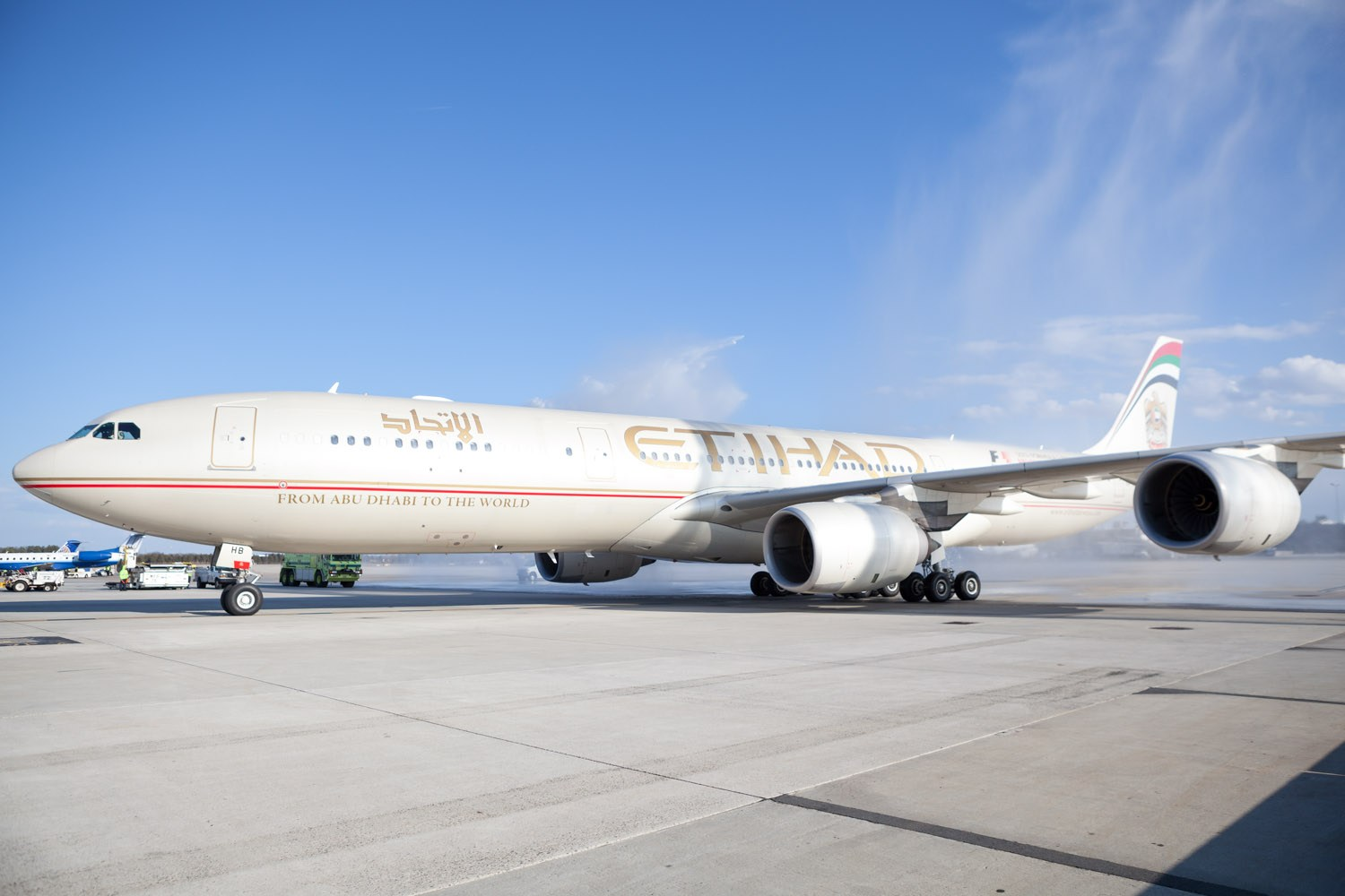 Etihad's Airbus A340-500 aircraft arrives at Dulles Airport.