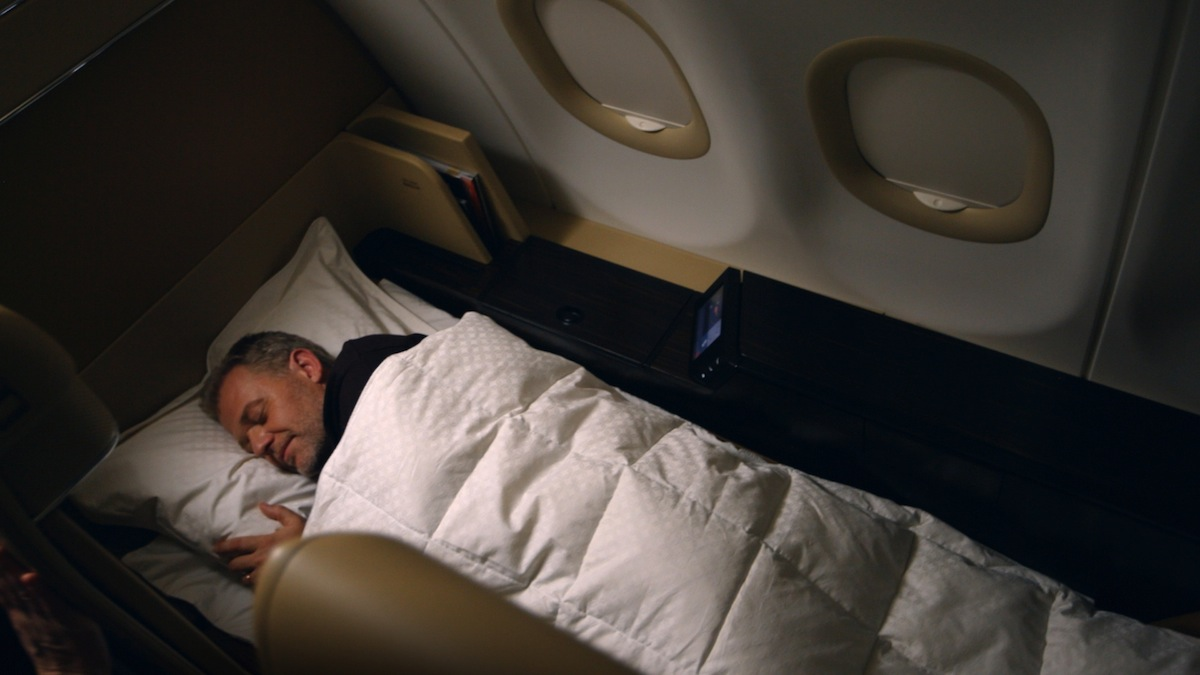 A luxury down feather duvet is available in First Class.