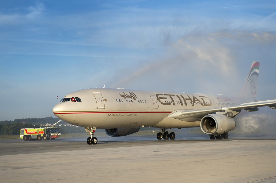 The first flight on the route touches down in Zurich.