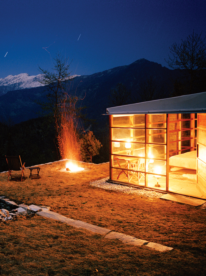 Evening views of the Kumaon Himalayas from a cottage at shakti 360° Leti.