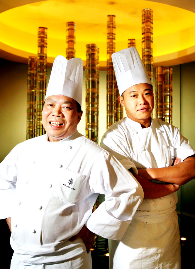 Chefs Chan Yan-tak (left) and Ma Kwai-ming of three-star Lung King Heen.