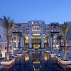 The hotel exterior.