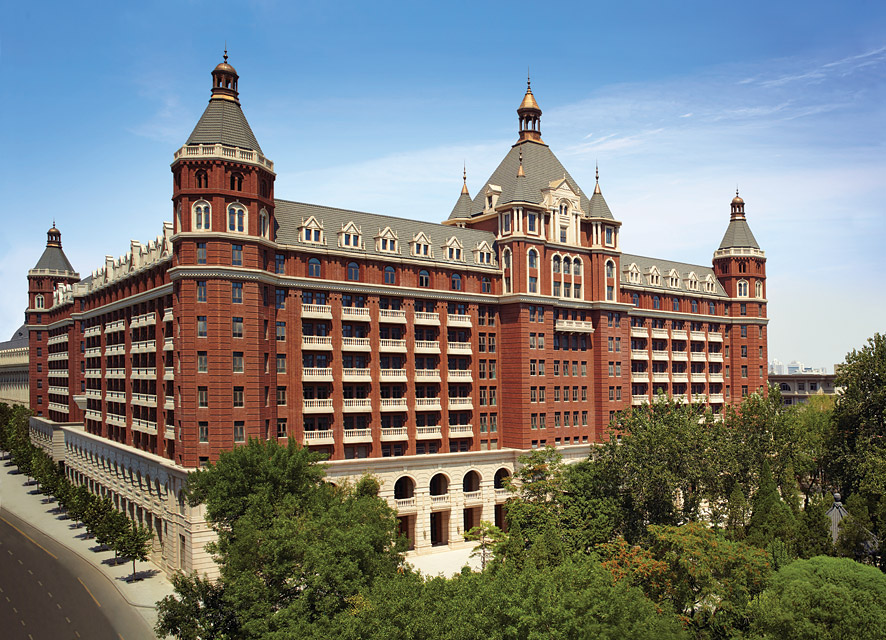 The Ritz-Carlton, Tianjin has a distinctive turreted, Neoclassical-style facade.