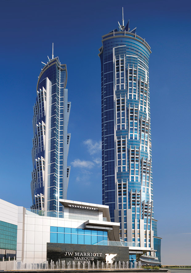 The exterior of the JW Marriott Marquis Dubai.