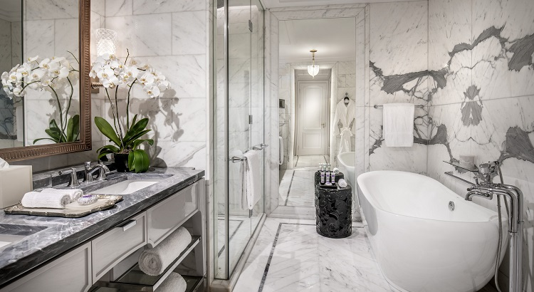The hotel's sleek bathroom design.