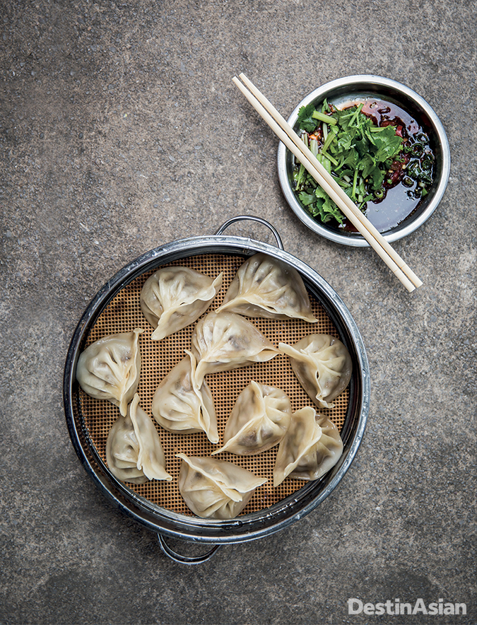 Dumplings at a street stall in Guilin City,