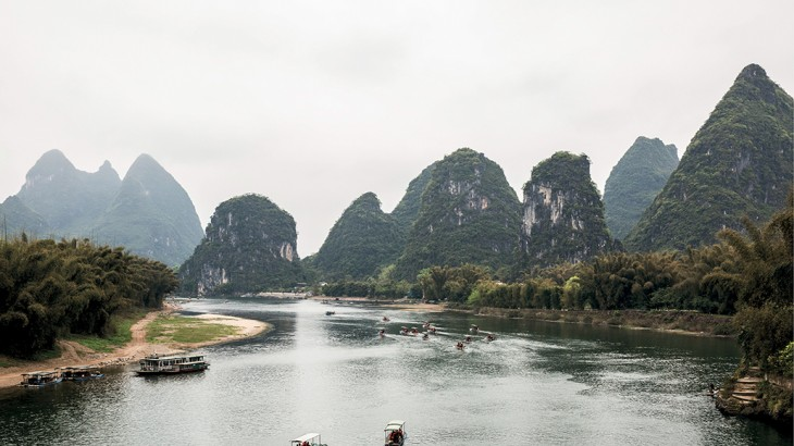 Tourist boats on the Li River near Yangshuo.