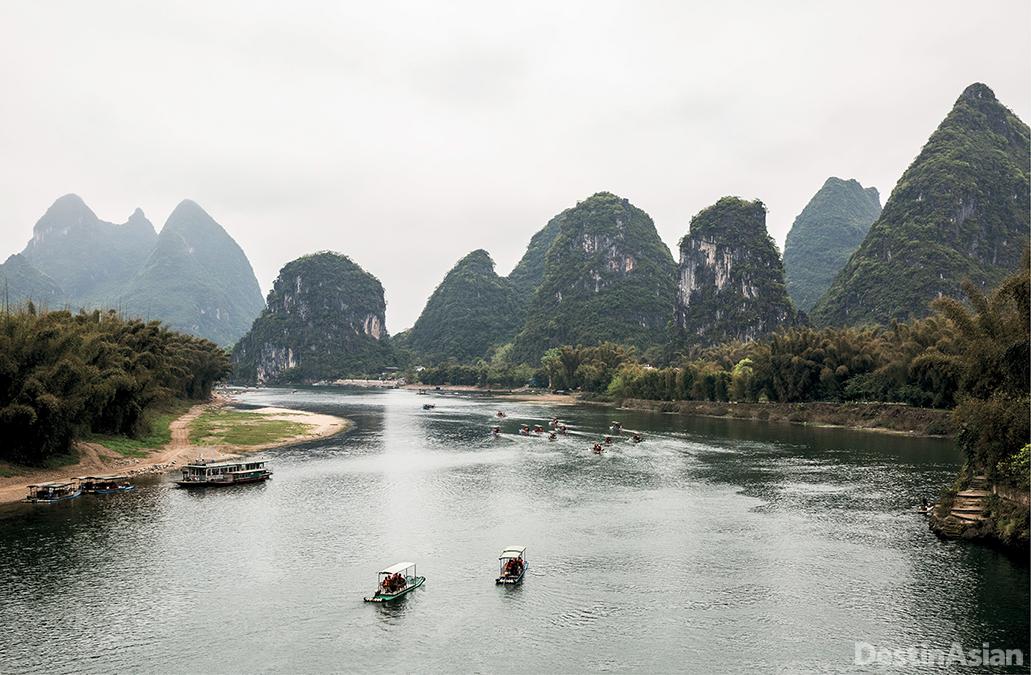 Tourist boats on the Li River near Yangshuo.