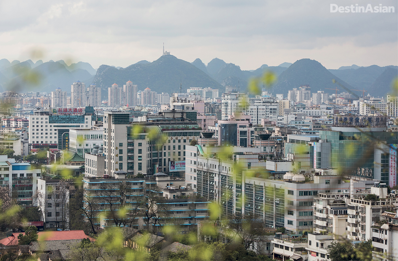 Overlooking Guilin City from its central hill, the Solitary Beauty Peak.