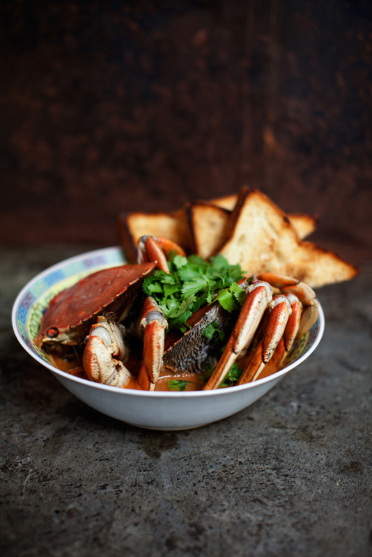 Fatty Crab's signature chili crab with pullman toast.