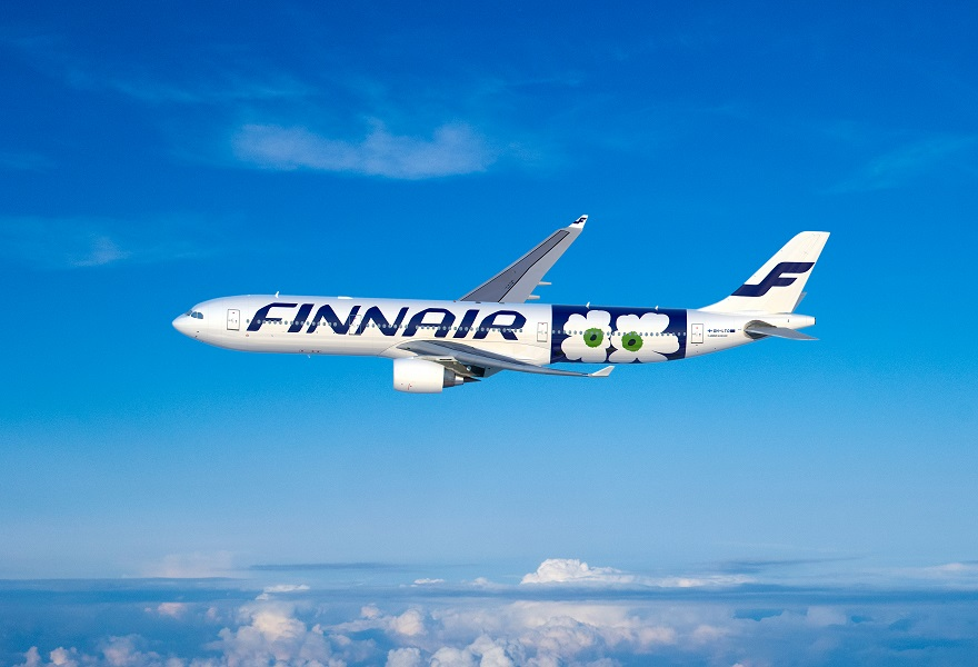 The new Finnair A330 with the iconic poppy print.
