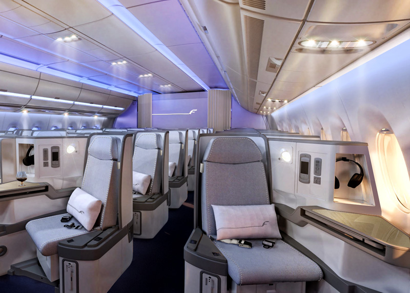 The new Finnair Airbus A350 business cabin.