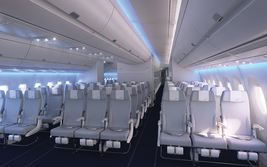 The aircraft's economy cabin comes with a 3-3-3 configuration.
