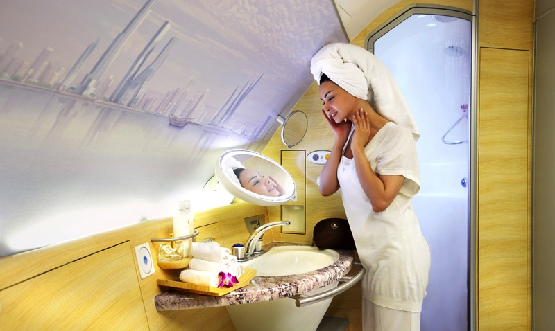 Showers are available in the First Class cabin of the A380 Moscow service.