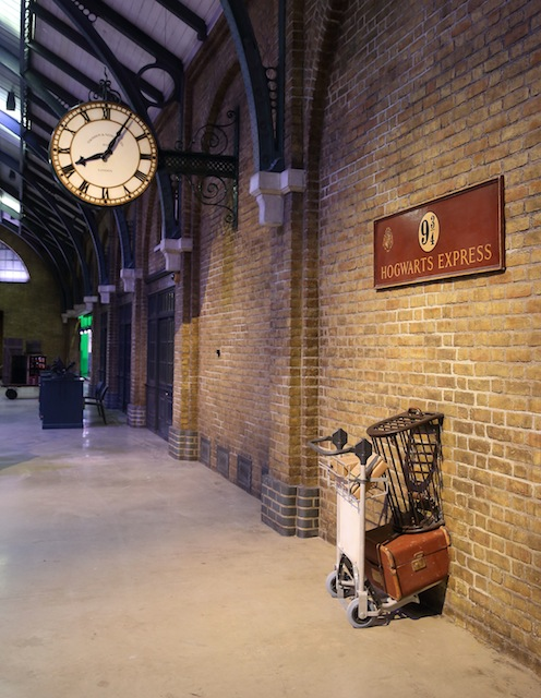 Visitors can pretend to vanish into the world of wizardry at Platform 9 3/4.