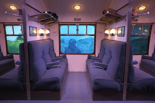 The carriages' 'windows' demonstrate the processes used to create iconic scenes including the escape of Harry's first Chocolate Frog and the Dementor attack.