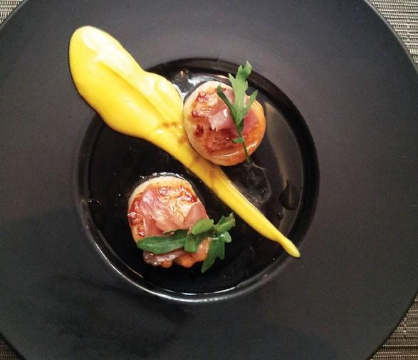 Scallops with Parma ham and pumpkin puree at Fleur de Sel.
