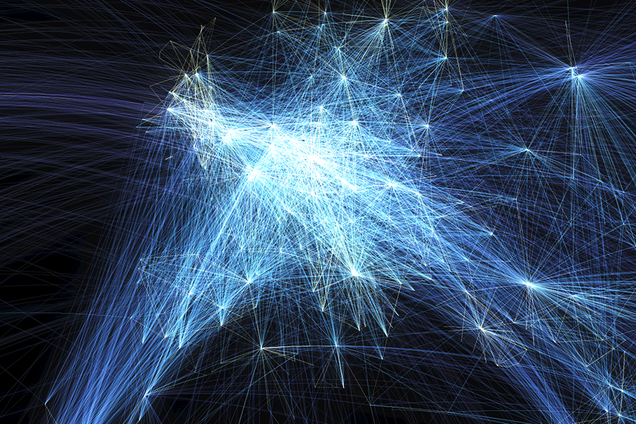 The brightest, meaning most concentration of flights, is Europe. As mapped by Michael Markieta of Arup