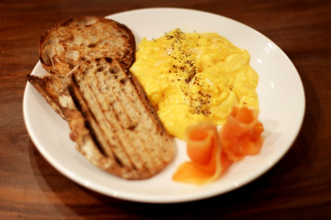Flock Café's signature runny eggs.