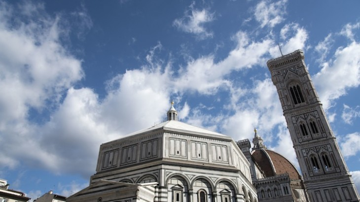 The decorative, colorful marble facade is a defining feature of the Duomo.