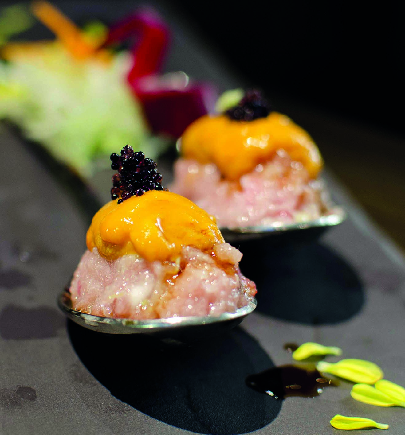 Negitoro tartare crowned with a tongue of sea urchin and black roe at the Flying Squirrel.