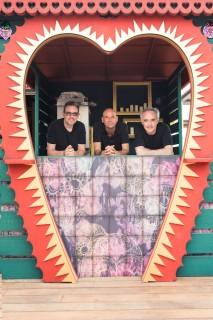 From left, the founders of Heart Ibiza: Albert Adria, Guy Laliberte, and Ferran Adria.