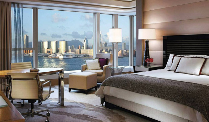 A deluxe harbor-view room.