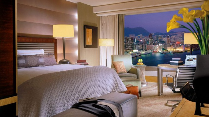 A room view at the Four Seasons Hong Kong luxury hotel.