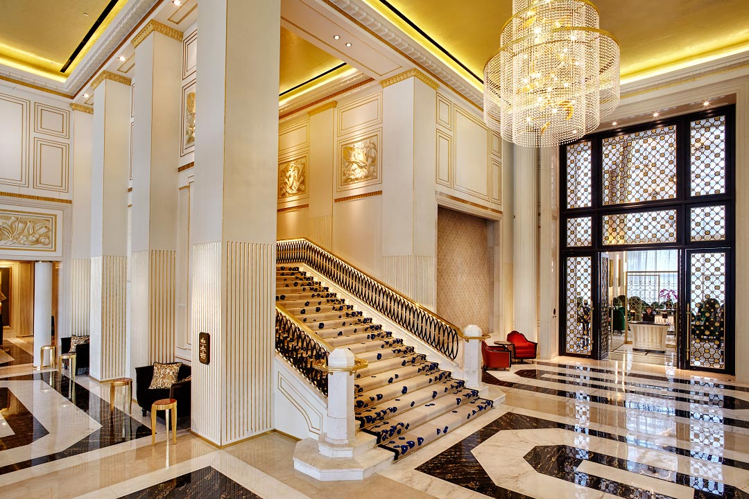 The Four Seasons' lobby and grand staircase.